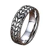 Onefeart Edelstahl Ring Für Herren Persönlichkeit Entwurf Reifen Muster Ring Hochglanzpoliert 6MM Silber 65 (20.7)