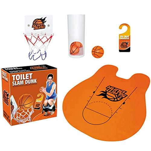 Gowsch Brain Game Witzige Toiletten Basketball Set mit Basketballkorb 3 Bälle und Matte WC Spiel