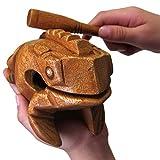 Wuudi 6 Inch Wood Frog Guiro Rasp Handcraft Musical Instrument Tone Block World Percussion Wood Toy For kids