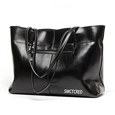 sac sac main sac à main Vintage Fashion cuir PU en cuir ncient façons Huile Cire Véritable Sac en cuir souple sac à bandoulière sac en cuir Sacoche Sac à main Sac à main Sac à main Sacs Sac, tablette, iPad (Noir)