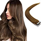 Extensiones cinta adhesiva de pelo natural - Tape in Human Remy Hair Extensions - 50cm 50g #8 Marrón Dorado
