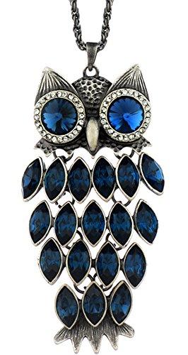 NEOGLORY Collar Largo Búho con Cristales SWAROVSKI AZUL Joya Original Regalo Mujer Chica
