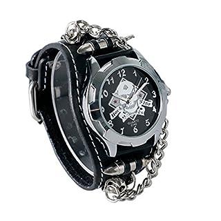 Abaobao Biker Skull Leather Bracelet Watch – Rock, Gothic, Emo Style