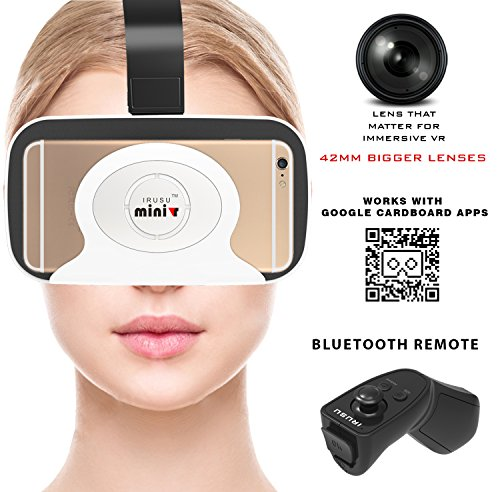 Irusu MINI 3D VR Headset with Bluetooth Remote for Smartphones (White)