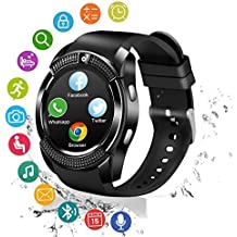 New Smart Mobile Watch Inbuild Camera_Suppoting 3G/4G SIM,Memory Card,Whatsapp,WeChat,Twitter,Facebook, Time Schedule, Read Message or News, Sports, Health, Pedometer, Sedentary Remind & SleepMonitoring,_compatible with all Leading Brands Phone like Samsung,Xiaomi Mi,Oppo,ViVo,Moto,HTC,Lenovo,honour & Jio._(V8 BLK)