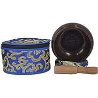 La meditación Cuenco Tibetano con especial Picazón Buda Mandala diseñado y protectora de la bolsa-BLK M Y (medio)