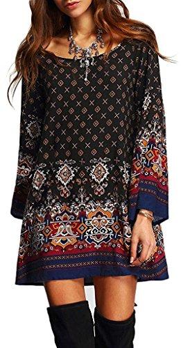 ASCHOEN Damen Minikleid Bohemian Vintage Blumen Rundhals Lose Strand Tunika kleid Bluse Kleider