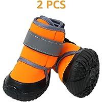 Zeraty Hundeschuhe Pfotenschutz, Anti-rutsch Sole passend für mittlere und große Hunde, Orange / 4 Stück /2 Stück