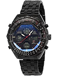Shark SH116 - Reloj Hombre de Cuarzo, Correa de Acero Inoxidable Negro, Esfera Negra
