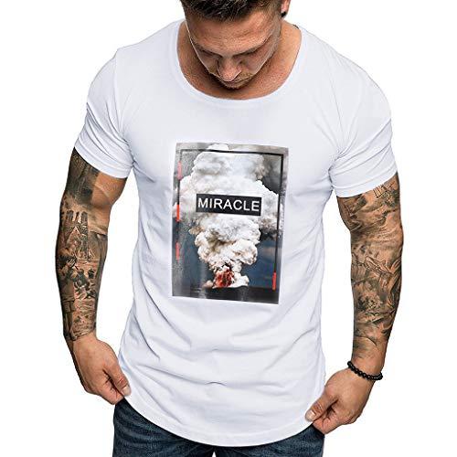 Camiseta para Hombre,ZARLLE Camiseta Slim para Hombre Originales Manga Cortos Verano Moda Músculo Polos Personalidad Casual Remera Slim Camisas de Deporte