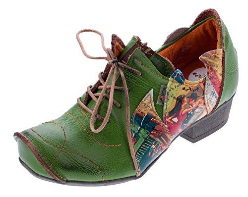 TMA Leder Damen Halbschuhe Schnürer Rot Comfort Schuhe echt Leder Pumps TMA 8088 Gr. 38
