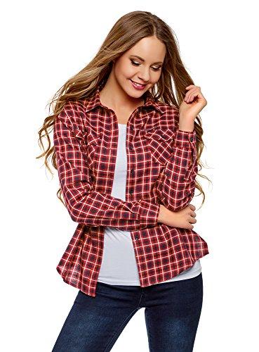 oodji Ultra Mujer Camisa a Cuadros con Bolsillos, Rojo, ES 36 / XS