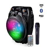 Enceinte karaoke sur batterie 6.5' 200W à LEDs RVB USB/BLUETOOTH + Micro sans fil