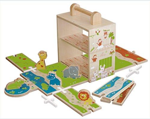 roba Spielwelt 'Zoo', Holzspielzeug fùr's Kinderzimmer & unterwegs mit stabiler Spiel- & Aufbewahrungsbox