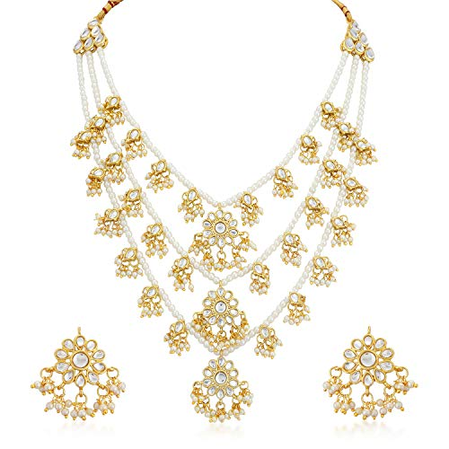 Sukkhi Gold Plated Kundan Pearl Fancy Haram Necklace Set Traditional Jewellery Set with Earrings for Women & Girls (N73511_D1)