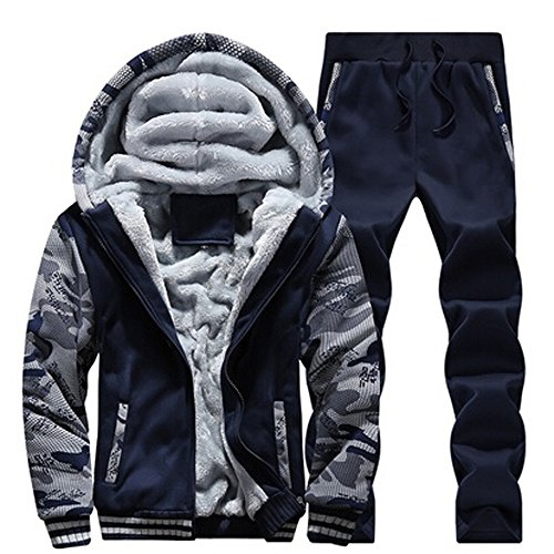VECDY Herren Bluse,Räumungsverkauf-Herren Trainingsanzug Warm Fleece Sport Kapuzen Sweatshirt Mantel Hoodies Hosen Sweat Suit(Blau,50