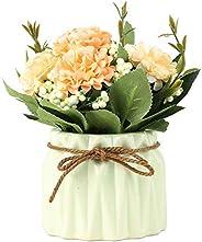 باقة من الكوبية الاصطناعية من SUPNIU مع مزهرية صغيرة من السيراميك الحرير مجموعة متنوعة من كرات الزهور لتزيين ا