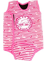 Surfit Girl's Dolphin Striped Baby Wrap Wetsuit - Pink/White, 6-12 Months