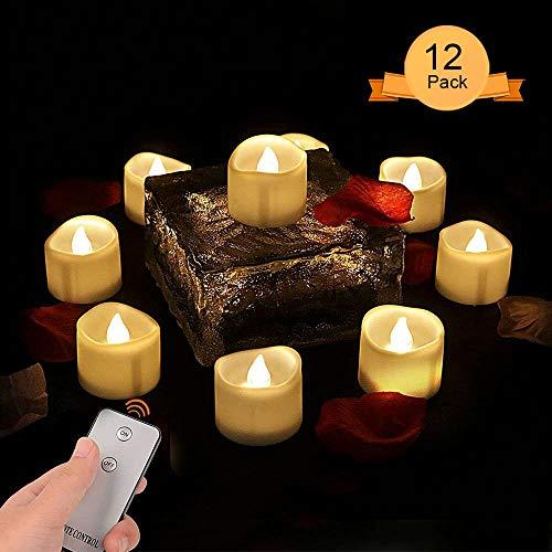 Weihnachtsdeko Teelichter LED mit Fernbedienung,Teelichter Elektrisch Flammenlose LED Kerzen Outdoor Flackernde Flamme kerze batterie für Weihnachtsdeko Hochzeit Geburtstags Party (12 Stück) (Halloween-filme Nicht Die Gruselig Besten)