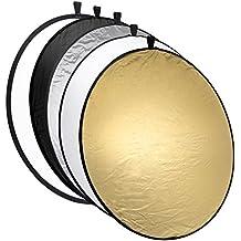 Mantona Riflettore pieghevole 5 in 1 - 110 cm colori: Oro, Argento, Nero, Bianco (Diffusore)