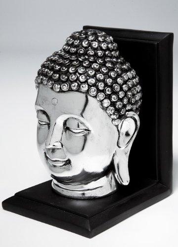 Buchstützen Thai Buddha Kopf aus Polyresin, silberfarben, glänzend, Maße: 17 x 13 x 11 cm, schön als asiatische Deko, praktisch als Buchständer im Bücherregal (Asiatisches Bücherregal)