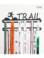 Trail running medalla pantalla doble percha negro