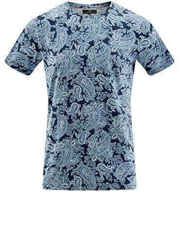 oodji Ultra Herren Gerades T-Shirt mit Druckmuster Blau (7975E)