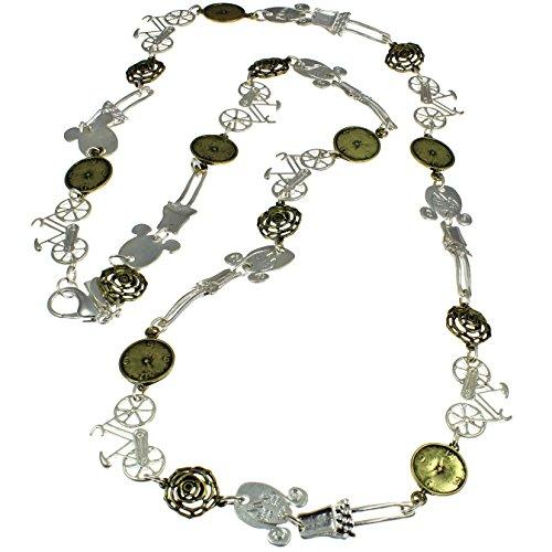 Accrocheur Bijoux Fantaisie argent et laiton Couleur Girl, vélo, horloge également une fleur rustique Charm pendentif Collier long