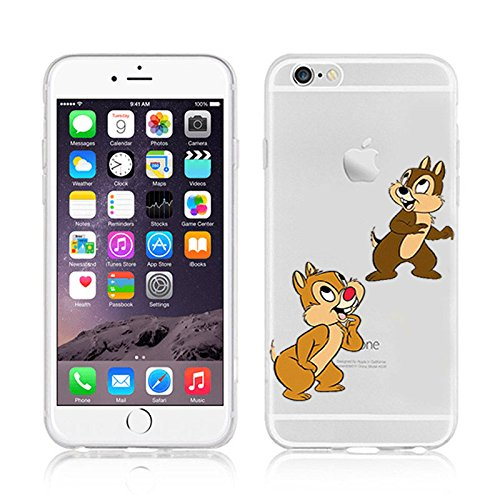 Disney Cartoons & Super Hero Transparent Klar TPU Soft Case für Apple iPhone 5SE, plastik, Micky & Minnie, APPLE IPHONE 5SE CHIP & DALE
