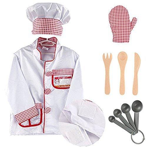 Kostüm Gabel - MaMiBabys Kochkostüm, Verkleidung, Spielset mit Hut, Ofenhandschuh, Messer, Gabel, Löffel, Lernspielzeug für Kinder im Alter von 2-6 Jahren