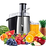 PureMate 1000W NaturoPure Powerful Whole Fruit and Vegetable Juice Extractor, Centrifugal Juicer Machine with 2 Speed Settings, BPAFree, 75MM Wide Mouth with 1L Juice Jug & 2L Pulp Container