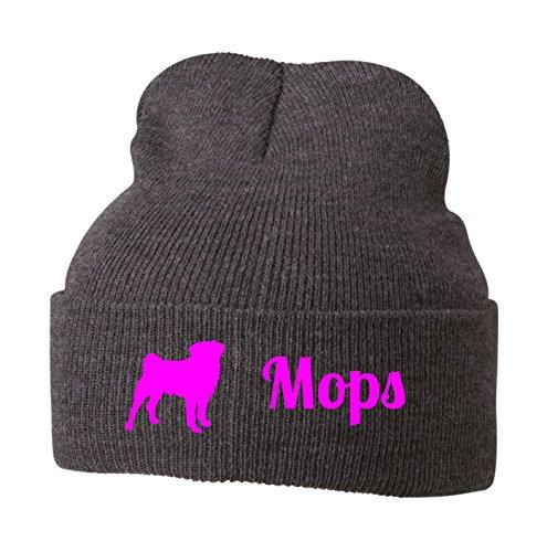 Strickmütze - MOPS Mopsmotiv Motiv Druck Hunde Pug Hund Möpse - Stickerei Hund Winter Mütze Wintermütze Beanie Mütze Siviwonder grey melange-neonpink (Mop Hat)