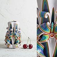 Boho Decor - handgefertigte, geschnitzte Kerze - dekorative Kerzen - Regenbogen-Kerzen - handgemachte EveCandles