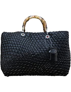 Damen Schultertasche Wende- Strandtasche Zweifarbig Shopper Bag in Bag Leder Optik geflochten