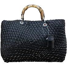7bcb634152e1f Damen Schultertasche Wende- Strandtasche Zweifarbig Shopper Bag in Bag  Leder Optik Geflochten