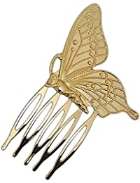 Young & Forever Gold Non-Precious Metal Hair Clip Comb for Women and Girls