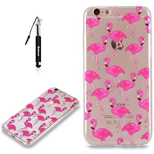 Coque iPhone 6S Plus Case Silicone Rouge,Huphant Etui pour telephone avec TPU Silicone Cas iPhone 6 Plus Housse Crystal with Coque couleurs for iPhone 6S Plus Etui silicone TPU Flamant Fleurs Datura F Flamant