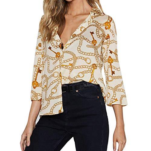 Aiserkly Beiläufige Bluse der Art und Weise Damen übersteigt V-Ausschnitt Chiffon- T-Shirt mit DREI ()