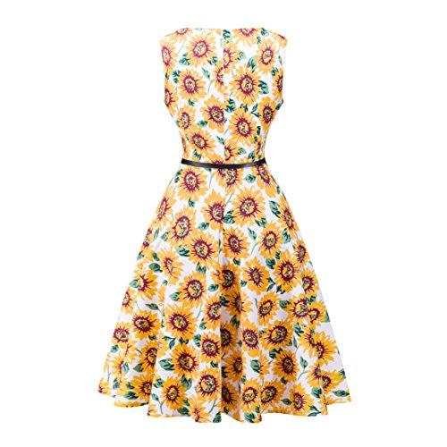 Damen A-Linie 50er Vintage Abendkleid Rockabilly Kleid Knielang Festliches Pin Up Kleid Partykleider Cocktailkleider 10