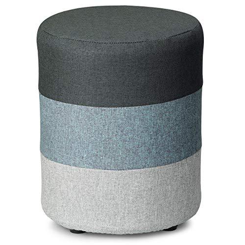 COQOFA DIY Soft Ottoman Sitzhocker Fußablage Hocker Runde Leinen Stoff Sofa Small Modern mit waschbarem Bezug und Foam -