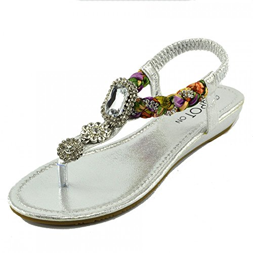 Kick Footwear - DAMEN FLACH GLADIATOR SOMMER STRAND FLIP-FLOP-URLAUB SANDALEN SCHUHE Silber Modell Nein.2