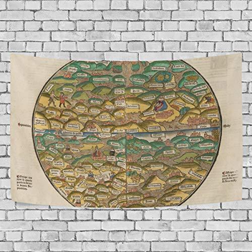 Billige Mittelalterliche Kleider - Chou_Joo_Home Wandteppich, mittelalterliche Weltkarte, Wandbehang Wandbehang