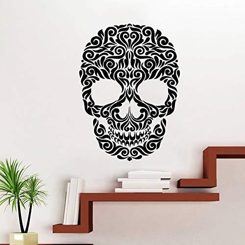Handaxian Vinyl Aufkleber Decals Art Home Decor Wandbild Sugar Skull Tattoo Gesicht Blumenmuster Damast Dia de los Muertos Horro55 * 75cm (Sugar Skull Art)