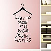 Pegatina pared vinilola vida es demasiado corta para.color negro para vestidores habitaciones juveniles de OPEN BUY