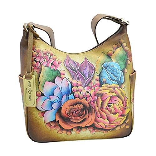 Handbemalte ANUSCHKA Handtasche Tasche Hobo Ledertasche Damentasche 382 LLC BZ (Hobo Anuschka)