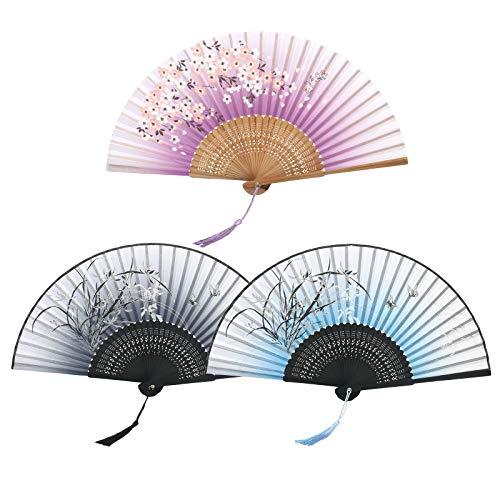 KATOOM Mano abanicos de Seda de bambú pequeño 3pcs Ventilador Plegable de Ciruelo Flor Negro Violeta...
