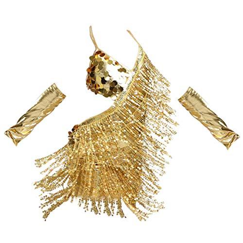 Teams Tanz Jazz Kostüm Für - Yiliankeji Mädchen Schlinge Pailletten Quaste Tanzen Kleid - Latein Salsa Samba Rumba Tango Jazz Karneval Performance Kostüm