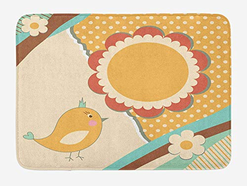 tgyew Doodle Bath Mat, Cute Little Bird with a Giant Flower on a Dotted Background Retro Inspired Print, Plush Bathroom Decor Mat with Non Slip Backing, 23.6 W X 15.7 W Inches, Multicolor - Little Giant Trailer