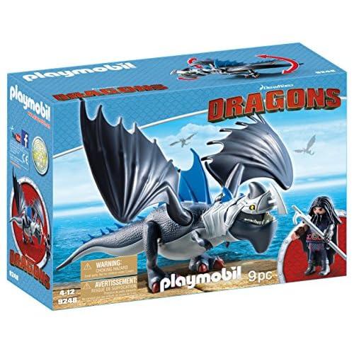 Cómo entrenar a tu dragón-Drago y Thunderclaw con Accesorios Muñecos y figuras, color azul, gris, 34,8 x 12,5 x 24,8 cm… 8
