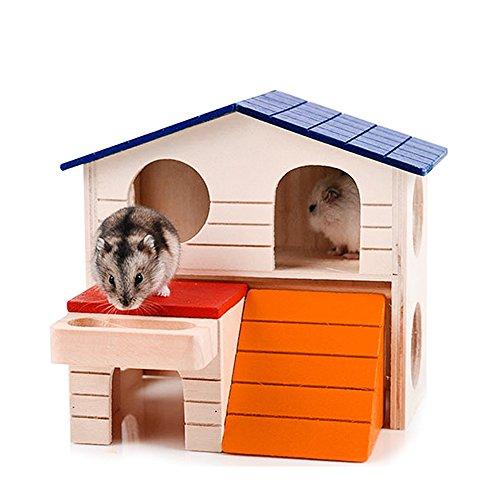 1PET klein Tier Holz Hamster Maus Käfig Dual Schicht Villa Schlafzimmer House
